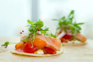 Salmon and salad dish