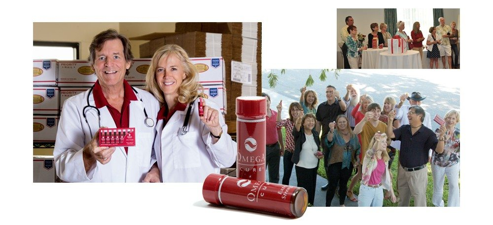 Drs. Bo and Anne-Marie holding Omega Cure Extra Strength, photo from Omega Cure Extra Strength launch party, photo of Omega Cure vials, group of people holding Omega Cure Extra Strength