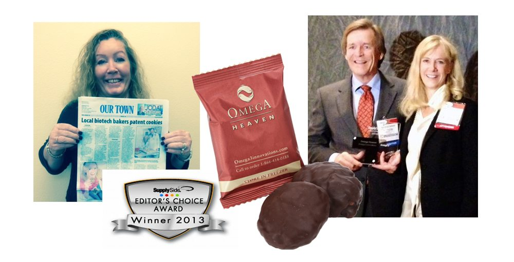 Woman holding newspaper article about Omega3 Innovations winning patent, Omega Heaven cookie, Bo and Anne-Marie receiving award at SupplySide Editor's Choice Awards ceremony