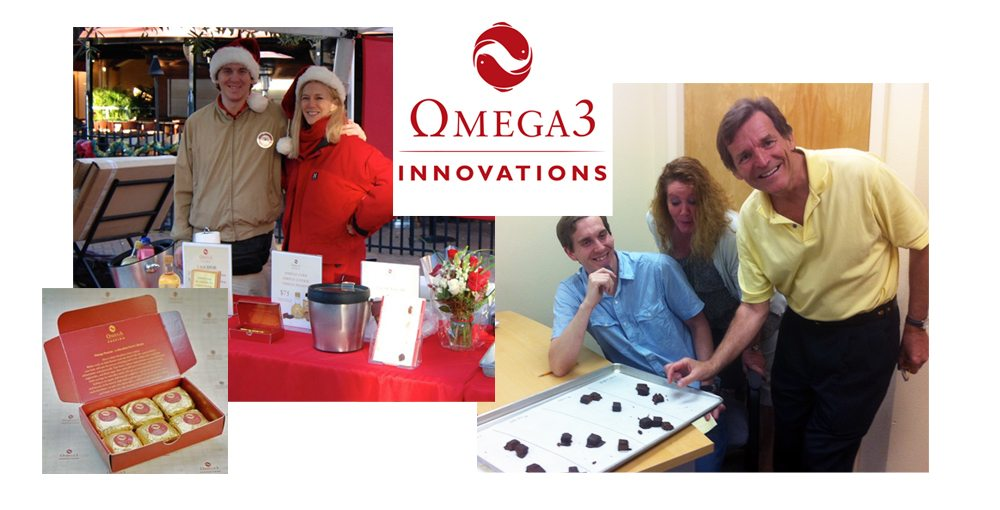 Original Omega Passion box, Omega3 Innovations logo, Booth at the Sarasota Farmers Market, Testing Omega Passion samples at the office
