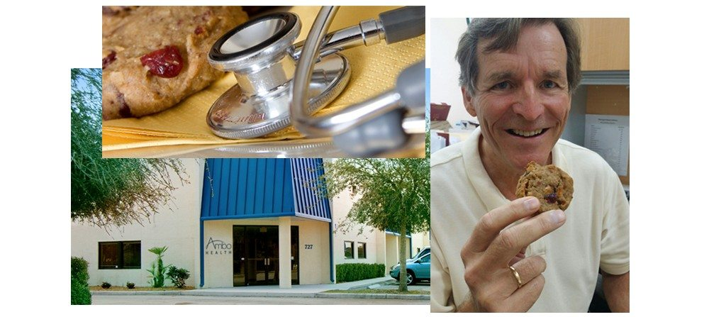Omega Cookies and a stethoscope, Bo Martinsen eating an Omega Cookie, moving into our new facility in Venice, FL