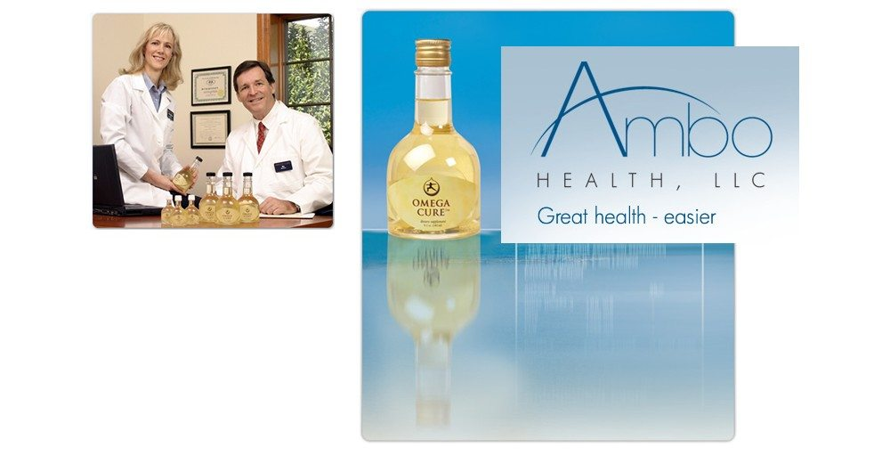 Dr. Bo Martinsen and Dr. Anne-Marie posing with Omega Cure bottles, old Omega Cure bottle design, Ambo Health logo