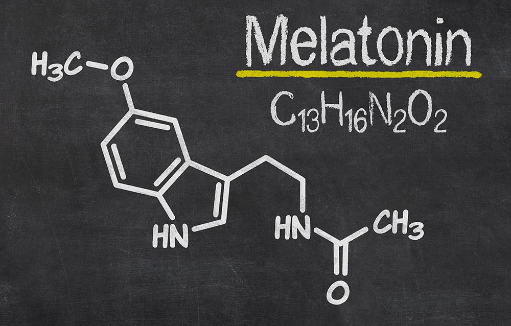 Blackboard with the chemical formula of melatonin