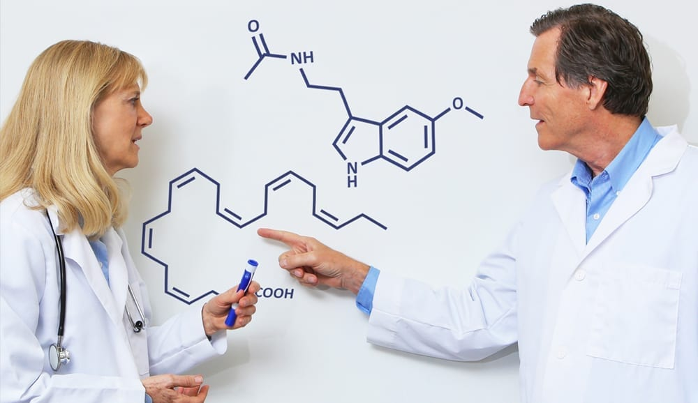 Dr. Martinsen and Dr. Chalmers discussing melatonin and omega-3 at the whiteboard