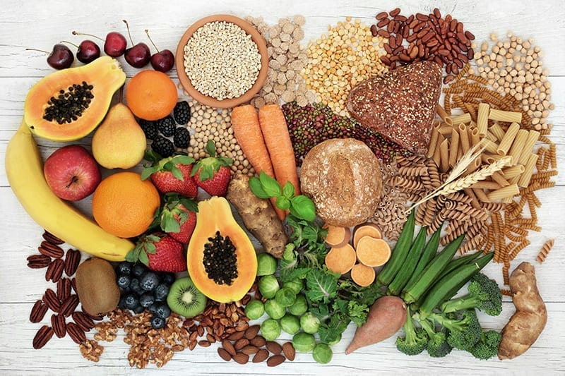 Foods with dietary fibers carbohydrates