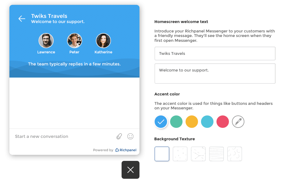 chat widget customization options - screenshot