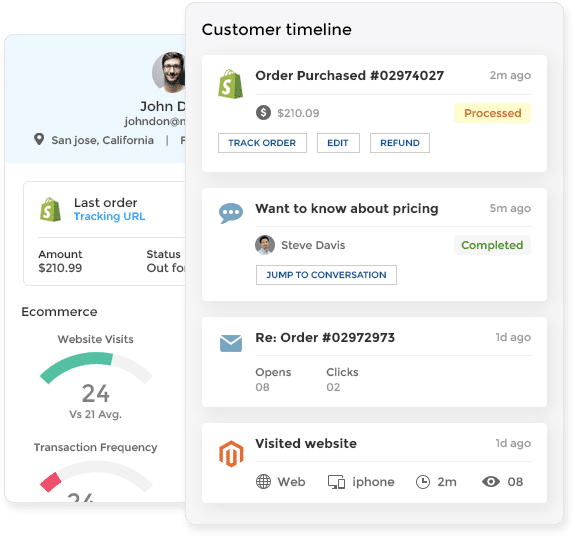 dashboard screenshot with complete customer information for chat context