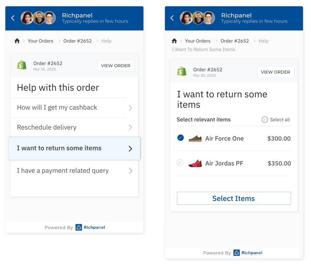 example screenshot of interactive self-service for ecommerce orders